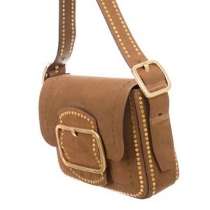 Tory Burch Sawyer Stud Suede Shoulder Bag